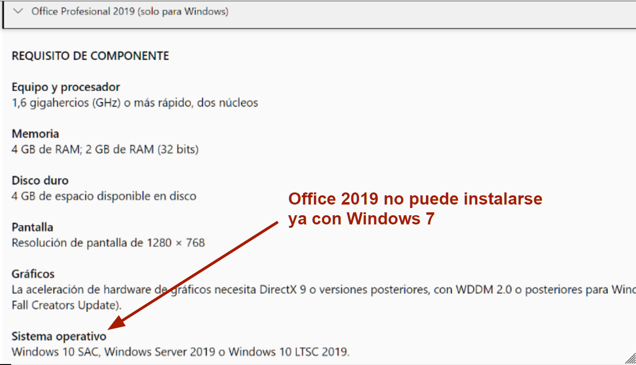OFFICE NO SE INSTALA CON WINDOWS 7, TIENES QUE ACTUALIZAR