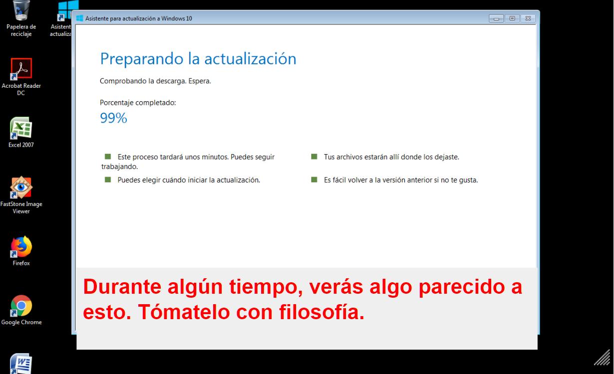 EL PROCESO DE ACTUALIZACION A WINDOWS 10 PUEDE HACERSE ALGO LARGO EN EL TIEMPO